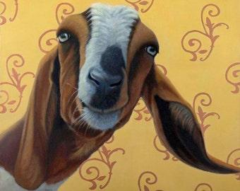 Funny Goat Print - Expressive Animal Art - Funny Goat Art -10% benefits animal rescue