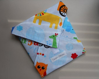 Eco Friendly Reusable Green Sandwich Wrap Snack Bag Circus Print