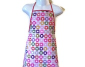 Childrens cute and adorable Reversible Full length apron ' Daisy Flowers for kids'Great for  craft projects