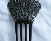 Large Vintage Celluloid Peineta Hair Comb: Black w/ Blue Gems