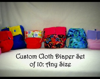 Custom Cloth Diaper Set of 10 (free shipping)