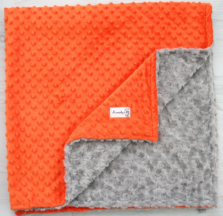 Orange And Grey Rosette Minky Throw Baby Blanket Home Decor