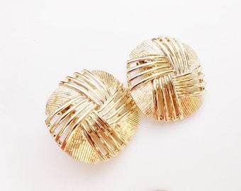 round gold earrings gold abstract  earrings clip on vintage earrings  jewelry
