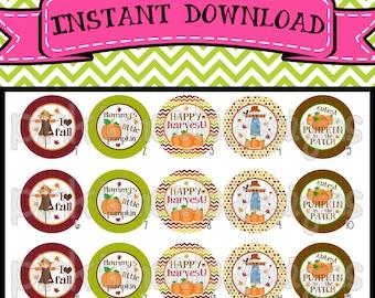 """Happy Harvest - INSTANT DOWNLOAD 1"""" Bottle Cap Images 4x6 - 515"""