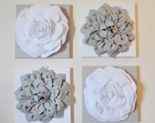 "Wall Decor -SET OF FOUR Gray and White Flower Wall Hangings 12 x12"" Canvases Flower Wall Art-"