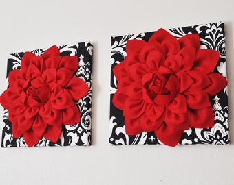 "Wall Hanging Set - Red Dahlia Flowers On Black And White Damask Print 12 x 12 "" Canvas Wall Art - Baby Nursery Wall Decor -"