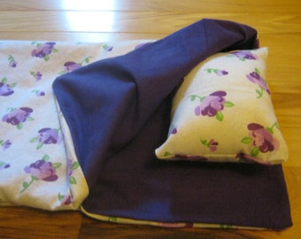 18 Inch Doll Sleeping Bag, purple flowers doll bedding for 18 inch doll