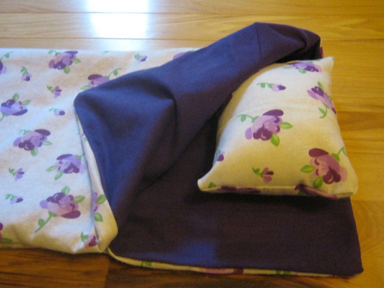 18 inch doll sleeping bag purple flowers doll bedding for 18