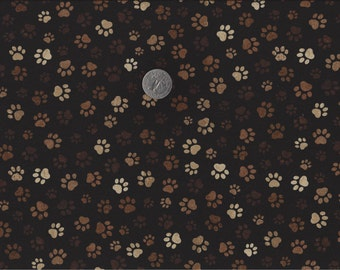 Paw Prints I Spy Cat Dog Fabric Mud Brown on Black Muddy Paws By the Fat Quarter