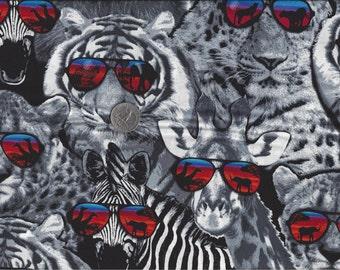 Safari Stud I Spy Lion Tiger Leopard Zebra Giraffe Sunglasses Shades By the Fat Quarter BTFQ