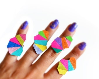Geometric Adjustable Ring, Neon Leather Ring, Faceted Triangle Yellow Kaleidoscope