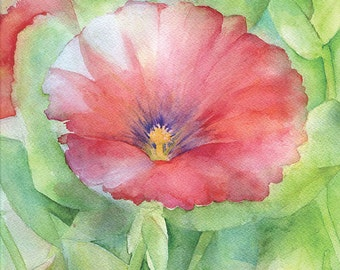 Red Hibiscus Watercolor Painting Giclee Print 8 x 10 Floral - 8.5 x11
