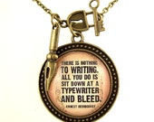 Ernest Hemingway Necklace-UK Literary Necklace-Author Quote-Writer Quote-Cameo Necklace-Literary Jewellery-There is nothing to writing