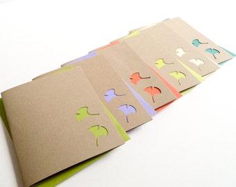 Ginkgo Delight - Handmade Blank Note Card Set - nature, ginkgo leaves - newnanc, Nouveau Nancy