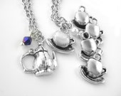Silver Mother Daughter Necklace Sets - Mom and Daughter Jewelry - Mommy and Me Jewelry - Two Daughter 2 Three 3 Four 4