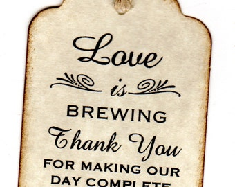50 Personalized Love Is Brewing Wedding Favor Coffee Tea Tags, Place Card Escort Tags, Thank You Gift Tags Labels - Vintage Style