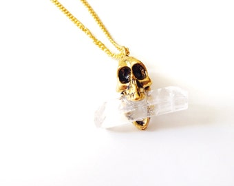 Quartz Crystal Skull Necklace/ Skull Pendant/ Gold Skull Pendant/ Crystal Skull Necklace/ Natural Gem Stone/ Danity Jewelry/ Crystal Healing