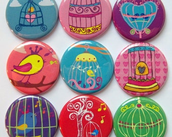 Birdcage Magnets - Colorful - Set of Nine 1.25 Inch Button Magnets Packaged in a Custom Box