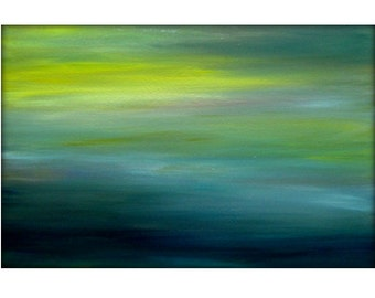 Large Original Seascape Abstract Canvas Contemporary/Modern Painting by Gina Perillo - 24x36 - Yellows, Navy, Aqua Marines Whites Custom