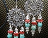 SOUTHWEST / TURQUOISE /  Fancy Cowgirl Dangle Drop Earrings - FaNCy SouTHWeST DaNGLeS