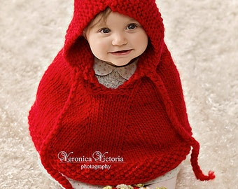 Knitting Pattern Baby Poncho With Hood : Popular items for baby poncho on Etsy