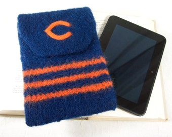 Kindle Cover, E-Reader Case, Cozy or Sleeve in Chicago Bears Blue and Orange Knitted Felt