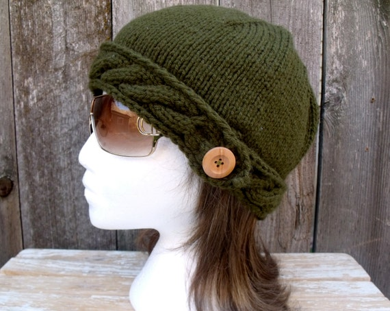Women's Cable Knit Beanie Hat with Natural Wood Button in Olive Green Sale 25% Off