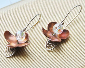 Delicate copper flower earrings, hand cut, hand forged with sterling silver wires and vintage crystal beads
