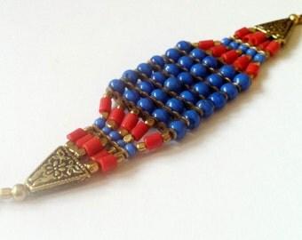 EGYPTIAN CUFF Bracelet ,Wrap Bracelet,Red,Blue and Gold Bracelet,Gold bracelet, Womens Jewelry,Beaded Bracelet Sale by taneesi jewelry