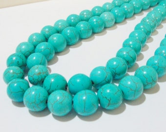 "Turquoise Round Beads - Turquoise Howlite Gemstone - Smooth Round Ball Beads - 16"" Strand - 12mm - Dark Veins Beads -DIY Jewelry Making"