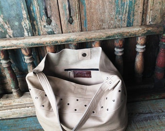 Winter White Leather Hobo