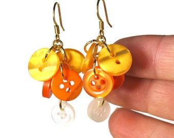 Candy Corn Earrings, Fun Halloween Earrings, Orange and Yellow, Button Jewelry, Upcycled