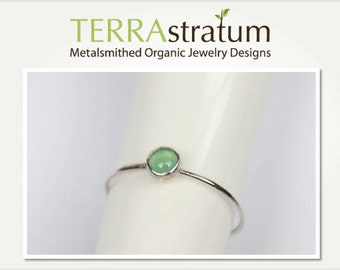 Chrysoprase Ring, Green Stone Ring, Green Jewel Ring, Green Gemstone Ring, May Birthstone Ring, Sterling Silver Ring, Barely There Ring