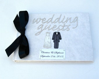Personalised Classic Wedding Guest Book - Black and White