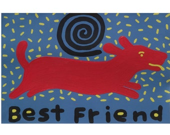 "Best Friend  red dog art print 8.5"" x 11"" copyright Hillary Vermont"