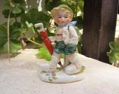 Little Boy with Umbrella Vintage Ceramic Figurine