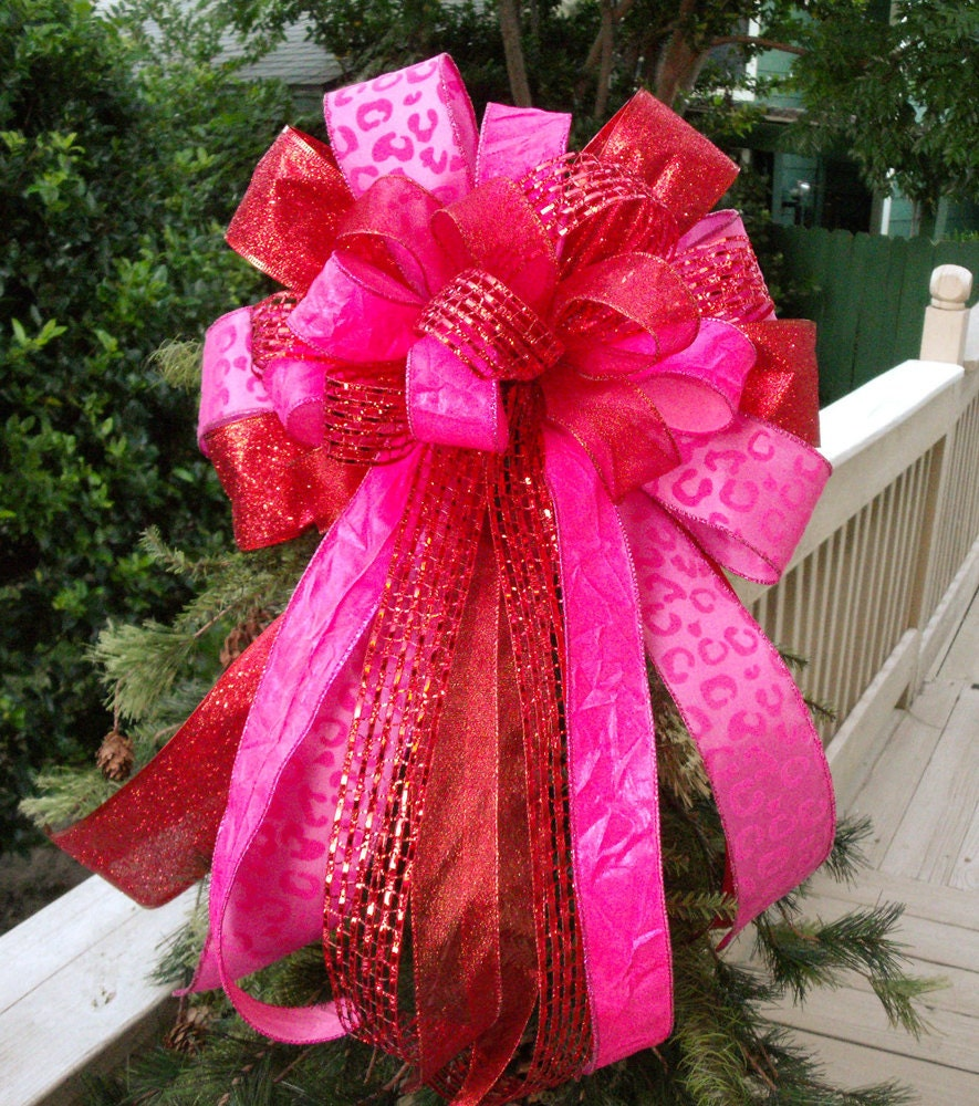 Christmas Tree Bow Wreath Bow Red And Hot Pink Tree Bow Bow