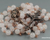Handmade Rosary Pink Rose Quartz Natural Stone Rustic Copper