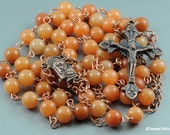 Catholic Copper Rosary Natural Red Aventurine Gemstone Natural Stone