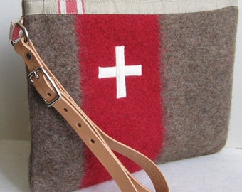 Large Swiss Army toiletry bag. Unique. Handmade from Swiss Army Wool Blankets - Taupe Gray  Red Stripe  Swiss Cross. Great Gift for Guys