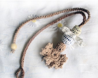 Nursing Necklace, Teething Necklace, Necklace for Nursing Mom, Nand Crochet, Absolutely Natural Materials  Ntural Brown, Chockolate Brown