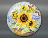 sunflower magnet, hand painted sunflower art magnet, country kitchen decor, sunflower decor, decorative magnet, large fridge magnet MA-353