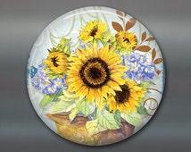 sunflower magnet, hand painted sunflower art magnet, country kitchen decor, sunflower decor, decorative magnet, large fridge magnet MA-353
