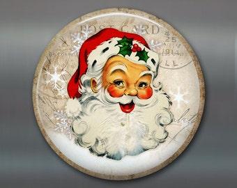 vintage christmas fridge magnet, vintage santa ornament, santa christmas decoration, kitchen decor, large magnet MA-1338