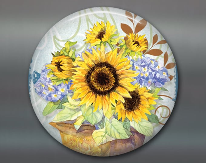 "3.5 "" sunflower magnet - hand painted home decor - country kitchen decor - sunflower decor- decorative magnet - large fridge magnet MA-353"