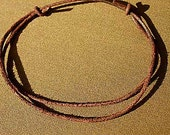 2pcs Leather Surfer Necklace 3mm Distressed Cord Brown And Black