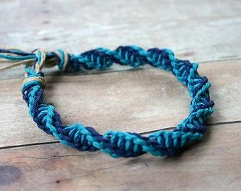 Surfer Macrame Hemp Bracelet Turquoise Blue Double Twist Knot  Bracelet Rare Style
