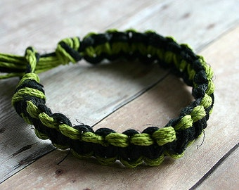 Surfer Macrame Hemp Bracelet Black Limegreen Woven Knot Friendship Bracelets