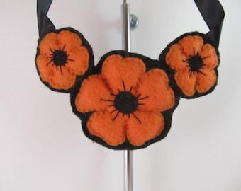 Felt Flower Necklace-Orange and Black Necklace-Felt Necklace
