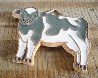 Vintage  Victoria Littlejohn Stoneware Cow Trivet / Wallhanging